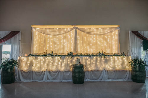 Head table and backdrop