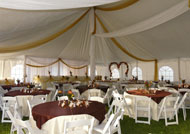 ceiling decor and pole draping