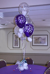 purple & white balloon bouquet