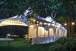 tent at night with lighting and sides