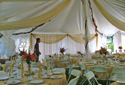 Decorated tent with Tables and Dishes
