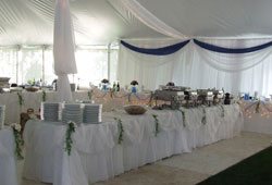 Decorated buffet tables in Tent