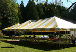 Yellow & White Striped Tent