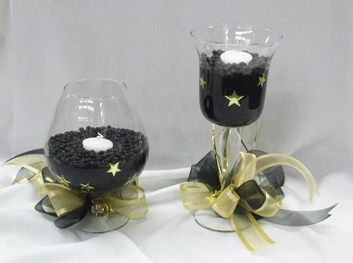 black and gold centrepieces