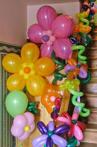 balloon flowers on stairs
