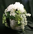 faux birch pot with flowers
